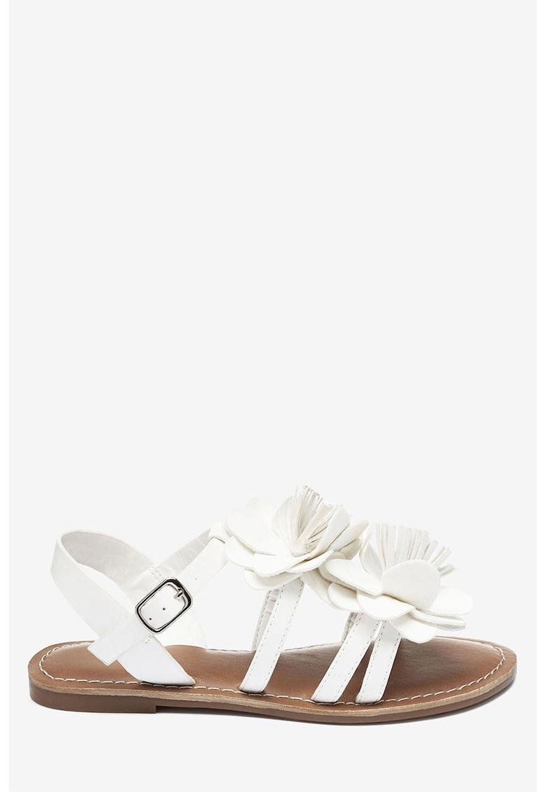 Sandale de piele ecologica – cu aplicatii florale NEXT