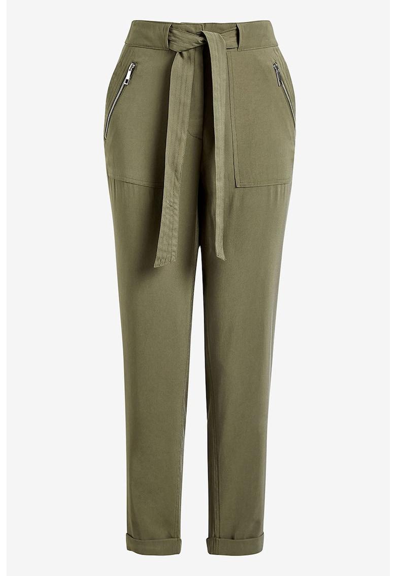 Pantaloni crop cu buzunare cu fermoar imagine