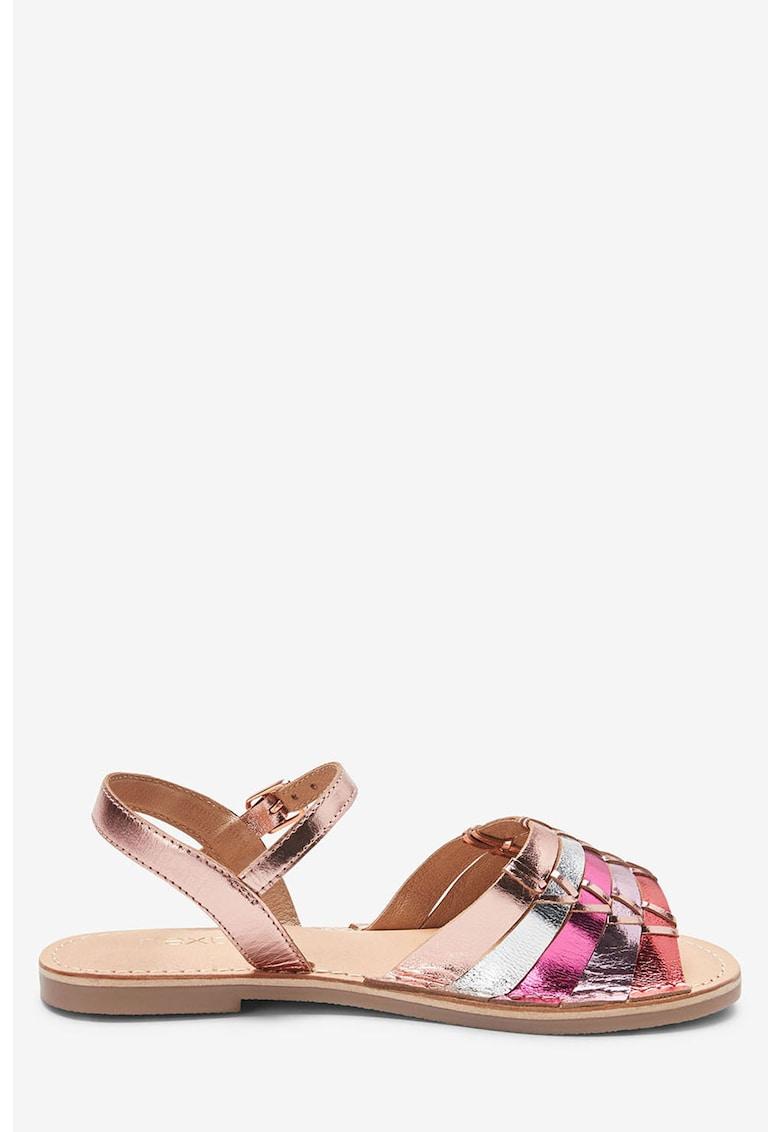 Sandale de piele cu aspect metalizat NEXT