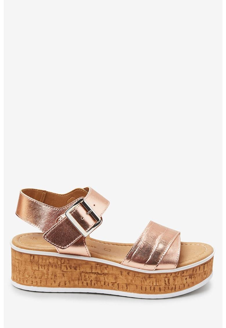 NEXT Sandale wedge de piele cu aspect metalizat