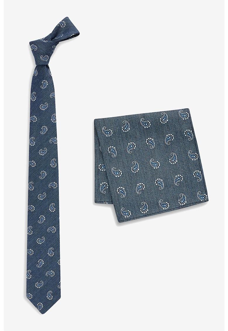 Set de cravata cu imprimeu paisley si batista decorativa NEXT