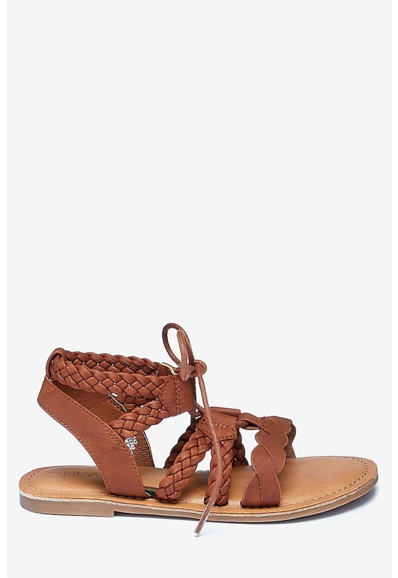 Sandale de piele ecologica - cu bareta cu aspect impletit de la NEXT