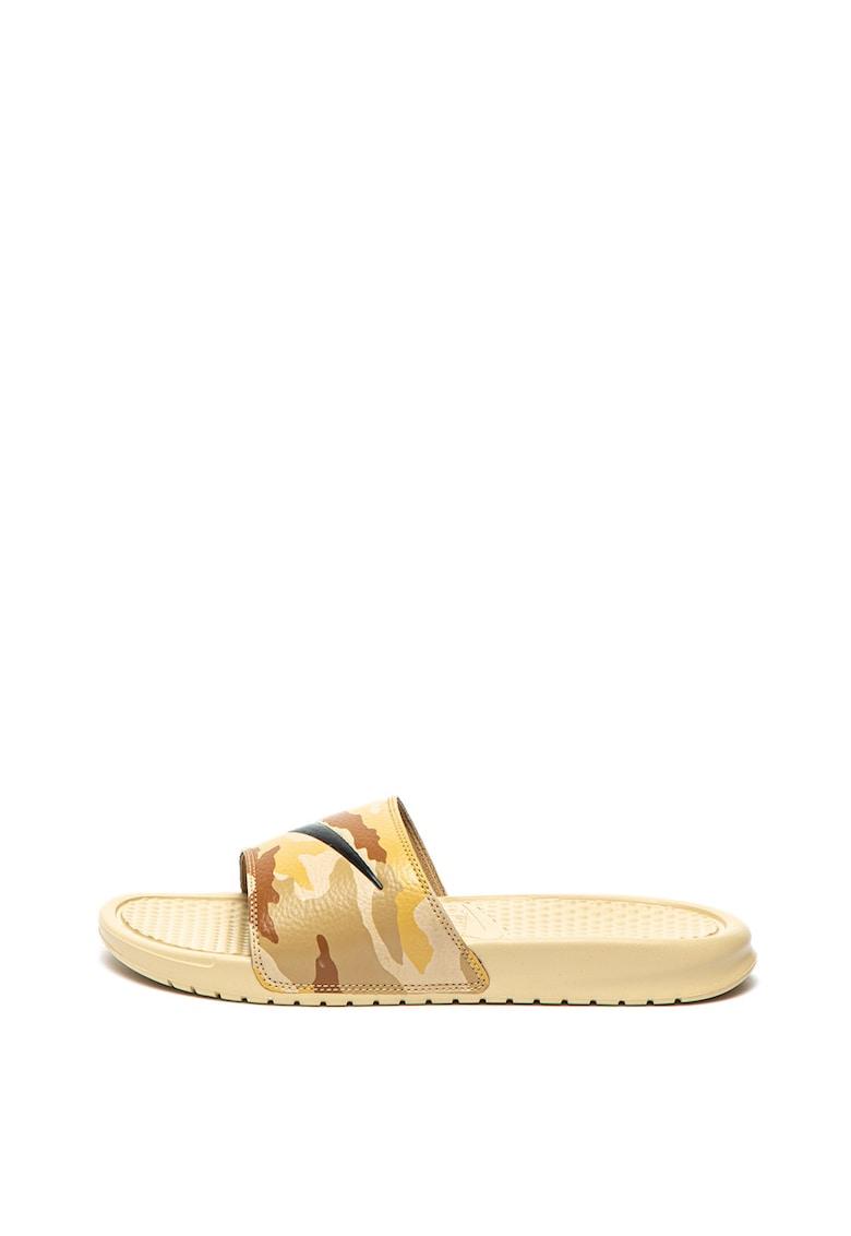 Nike Papuci de piele ecologica – cu imprimeu camuflaj Benassi JDI