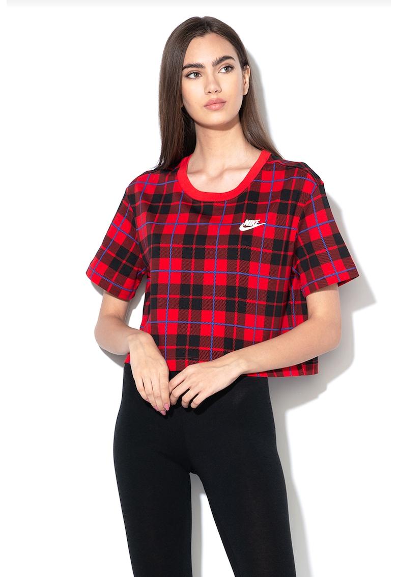 Tricou crop cu model in carouri de la Nike