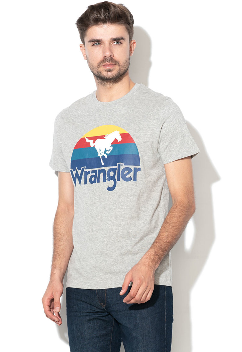 Tricou cu imprimeu grafic si logo de la Wrangler