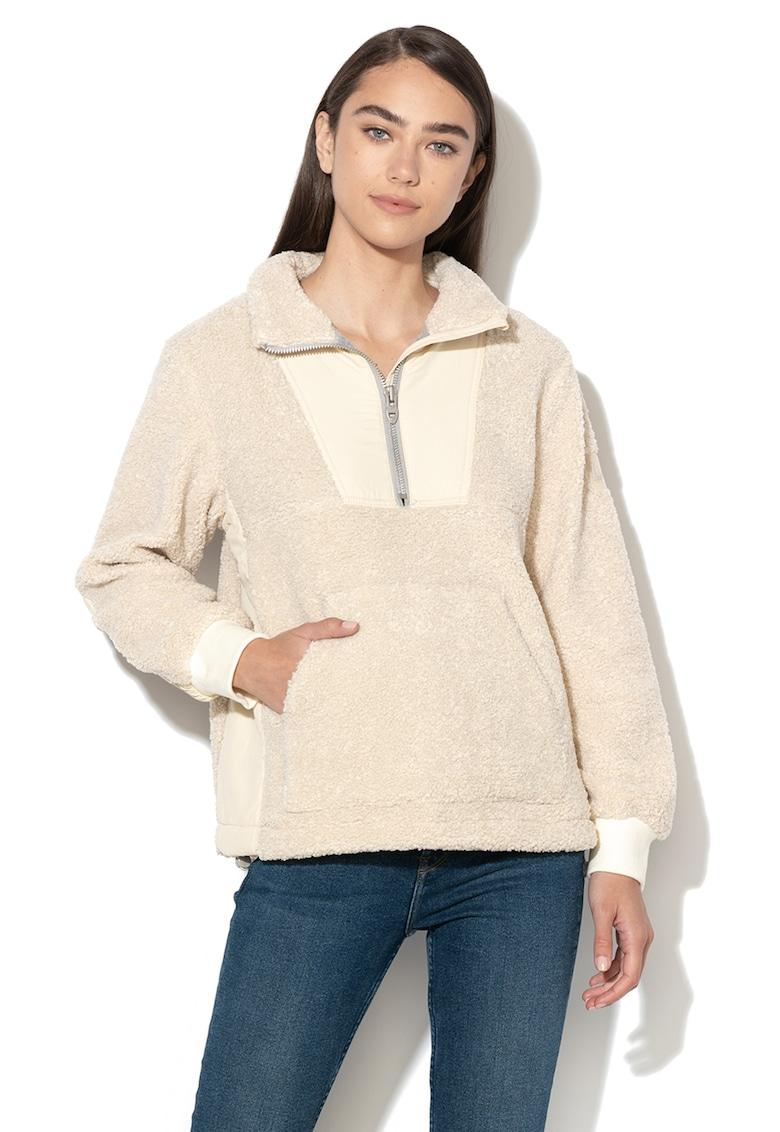 Bluza sport de blana shearling sintetica - cu buzunar kangaroo