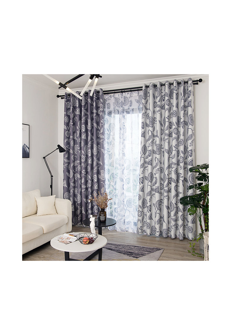 Set draperii 2 * 140x245 cm - Poliester - cu model floral - Gri inchis/Gri deschis poza fashiondays