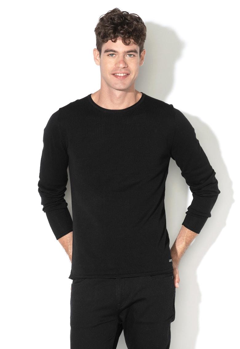 Pulover din tricot fin - cu decolteu la baza gatului de la EDC by Esprit