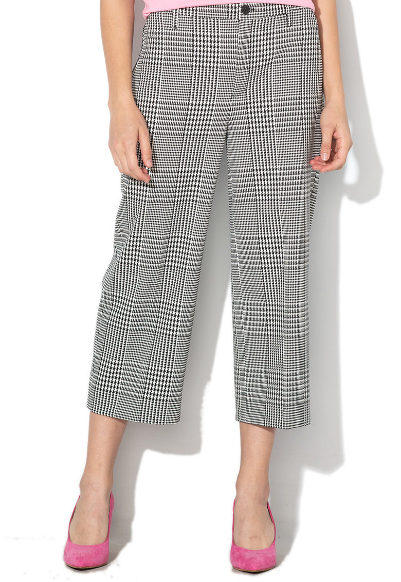 Pantaloni capri cu croiala ampla si model houndstooth imagine