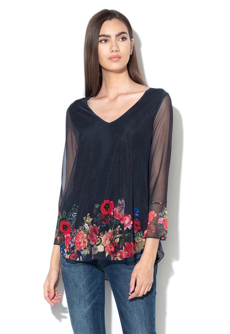 Bluza de plasa cu decolteu in V si imprimeu floral O'Hara DESIGUAL