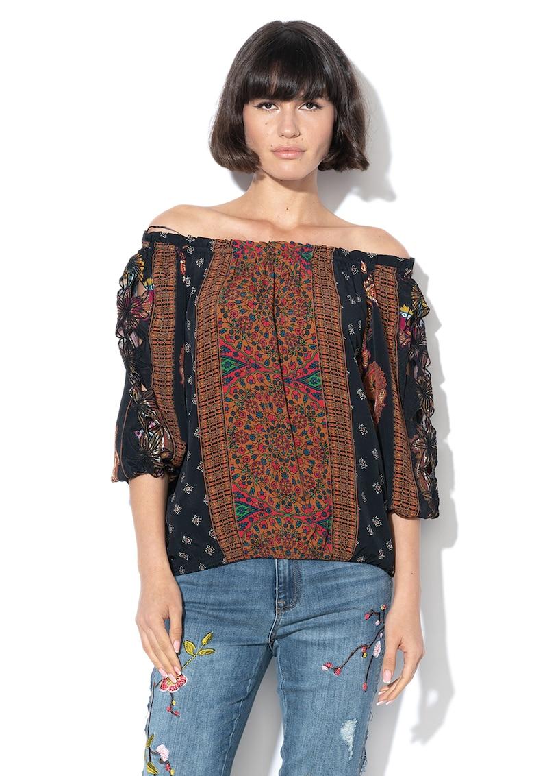 Bluza cu model floral si insertii brodate Indira imagine