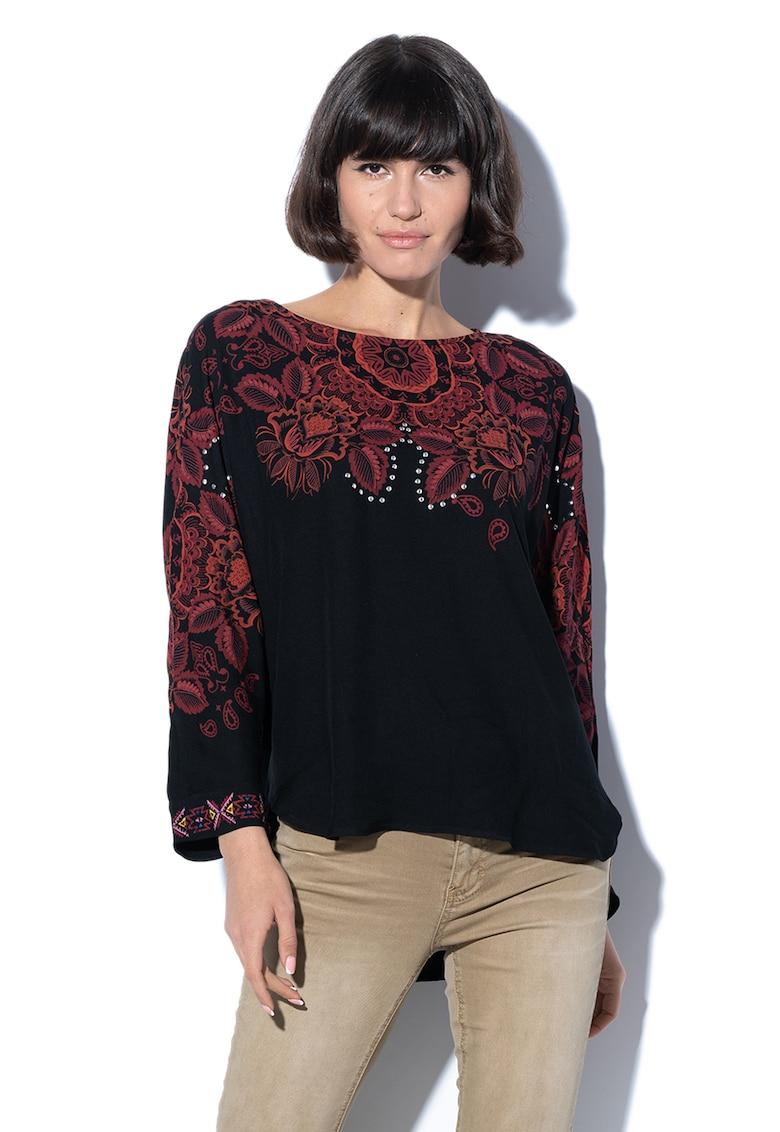 Bluza cu model floral – croiala asimetrica si nituri Lumbe DESIGUAL