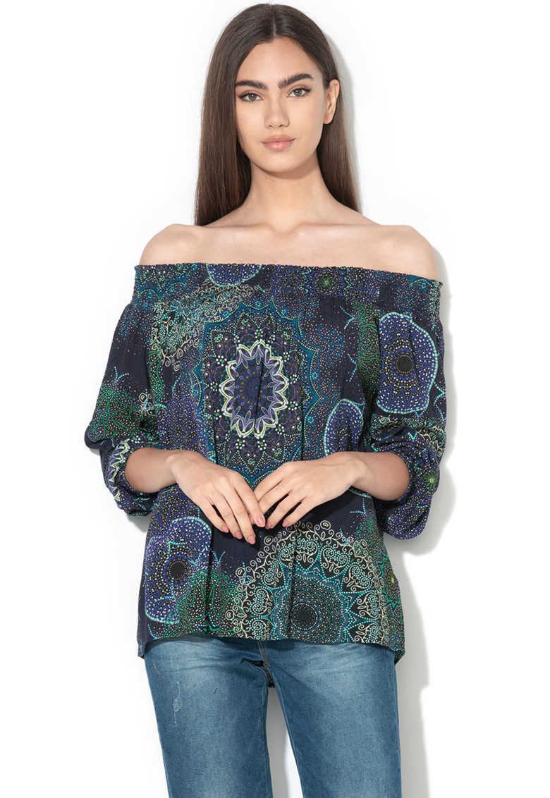 Bluza cu decolteu pe umeri si model grafic Amandine DESIGUAL