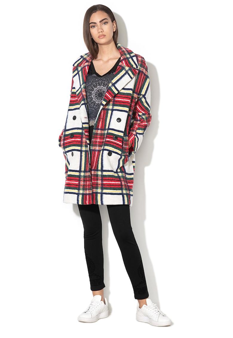 Palton din amestec de lana – cu model in carouri Dorian DESIGUAL