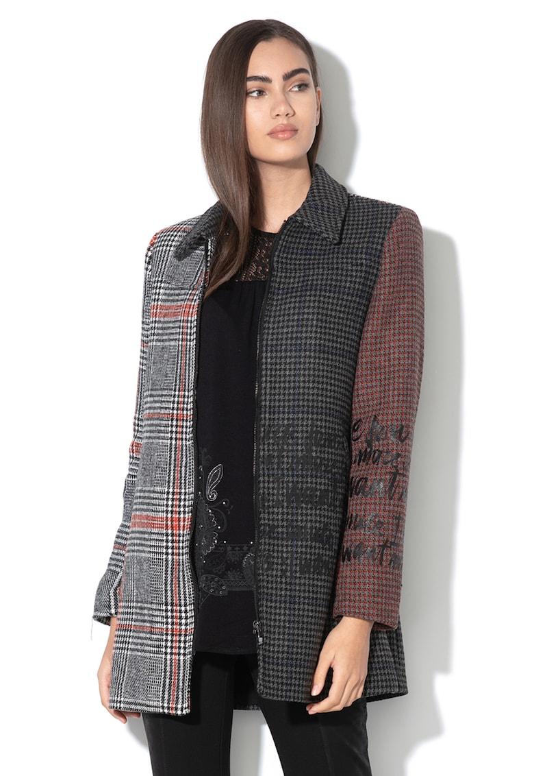 Palton din amestec de lana - cu imprimeu Kira