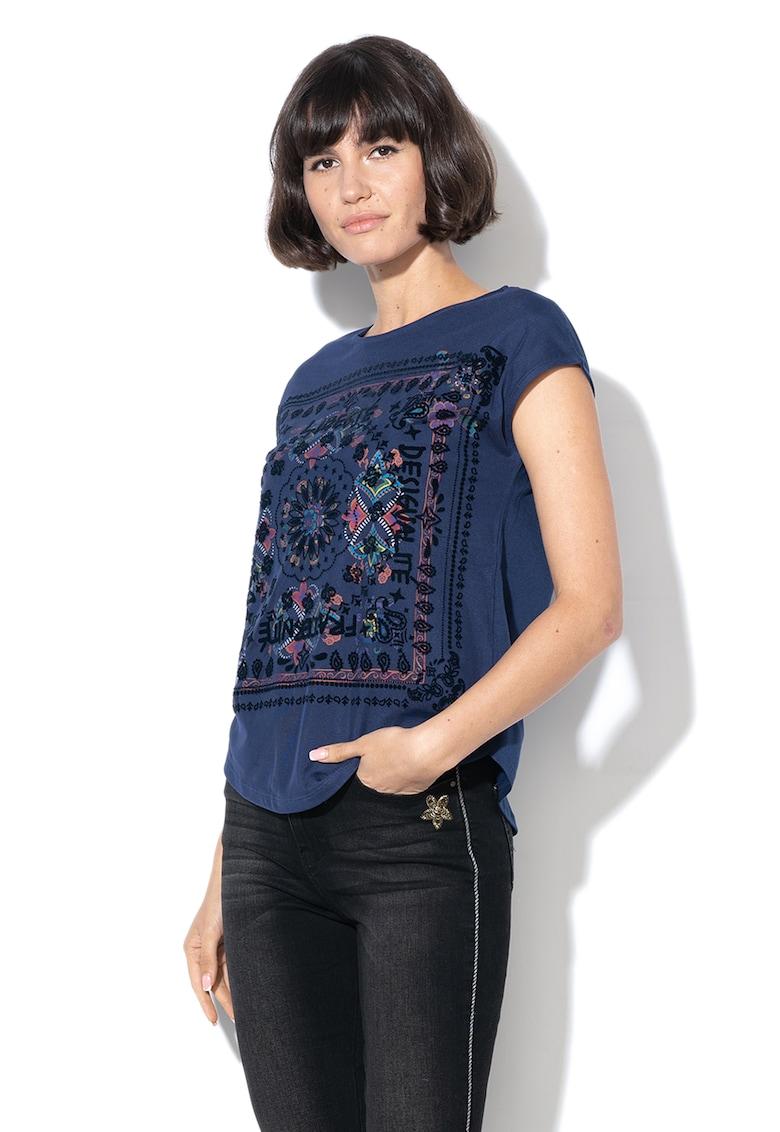 Tricou din amestec de modal – cu imprimeu floral Lua DESIGUAL