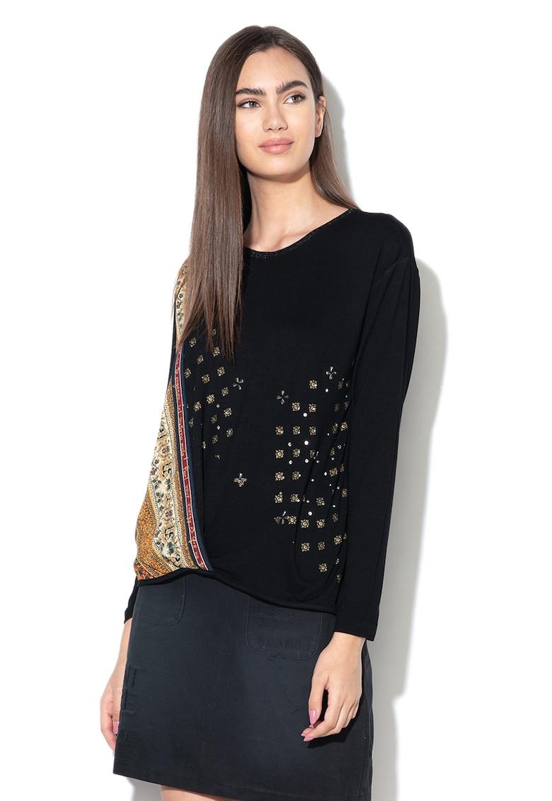 Bluza cu model floral si strasuri Bridget