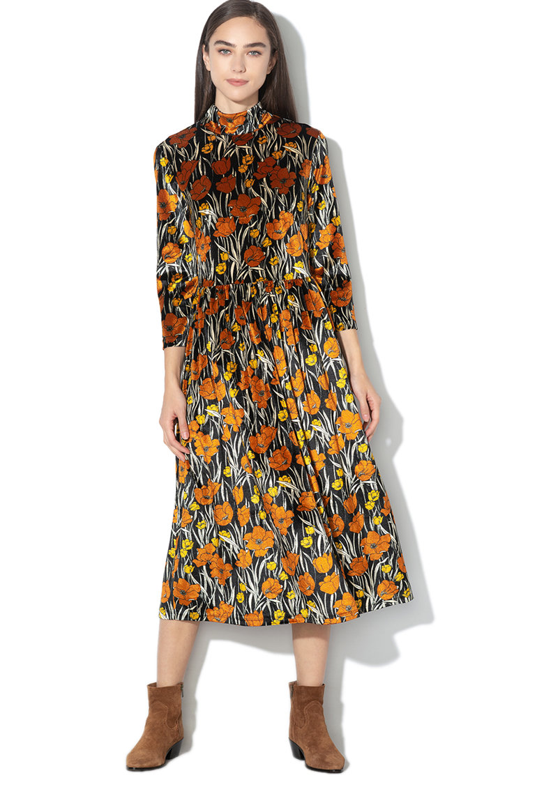Rochie de catifea cu imprimeu floral Zanis
