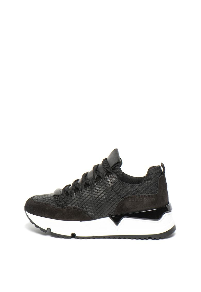 Pantofi sport wedge cu garnituri de piele intoarsa