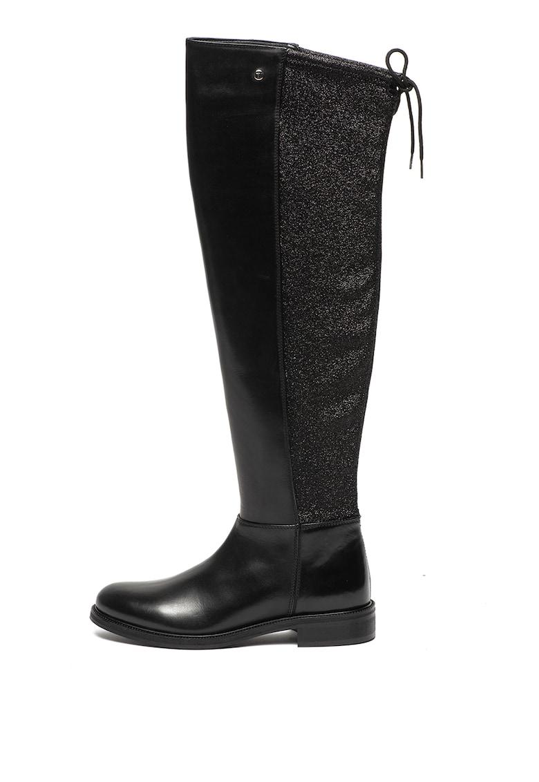 Cizme de piele lungi peste genunchi cu insertii stralucitoare Trussardi Jeans