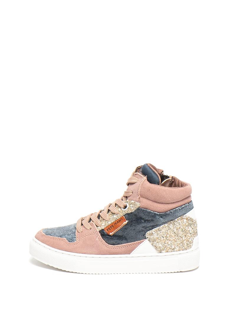 Pantofi sport cu insertii de piele intoarsa Adams Basket Pepe Jeans London
