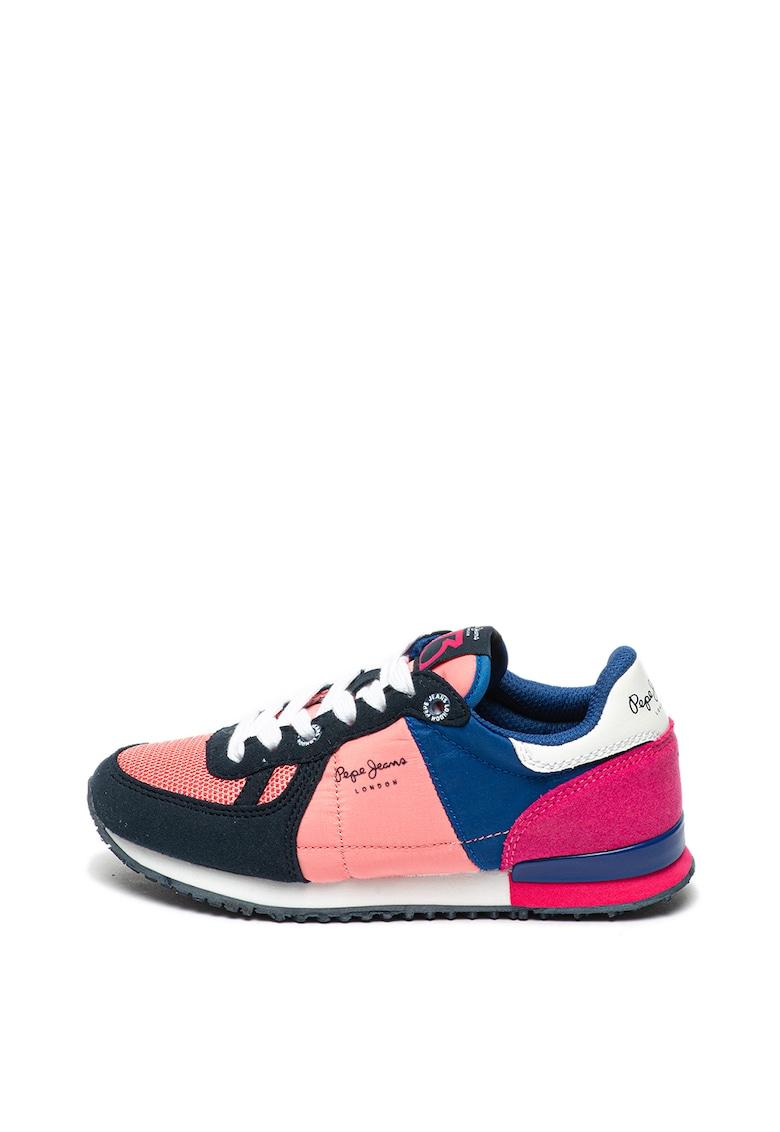Pantofi sport de piele ecologica cu model colorblock Sydney Pepe Jeans London