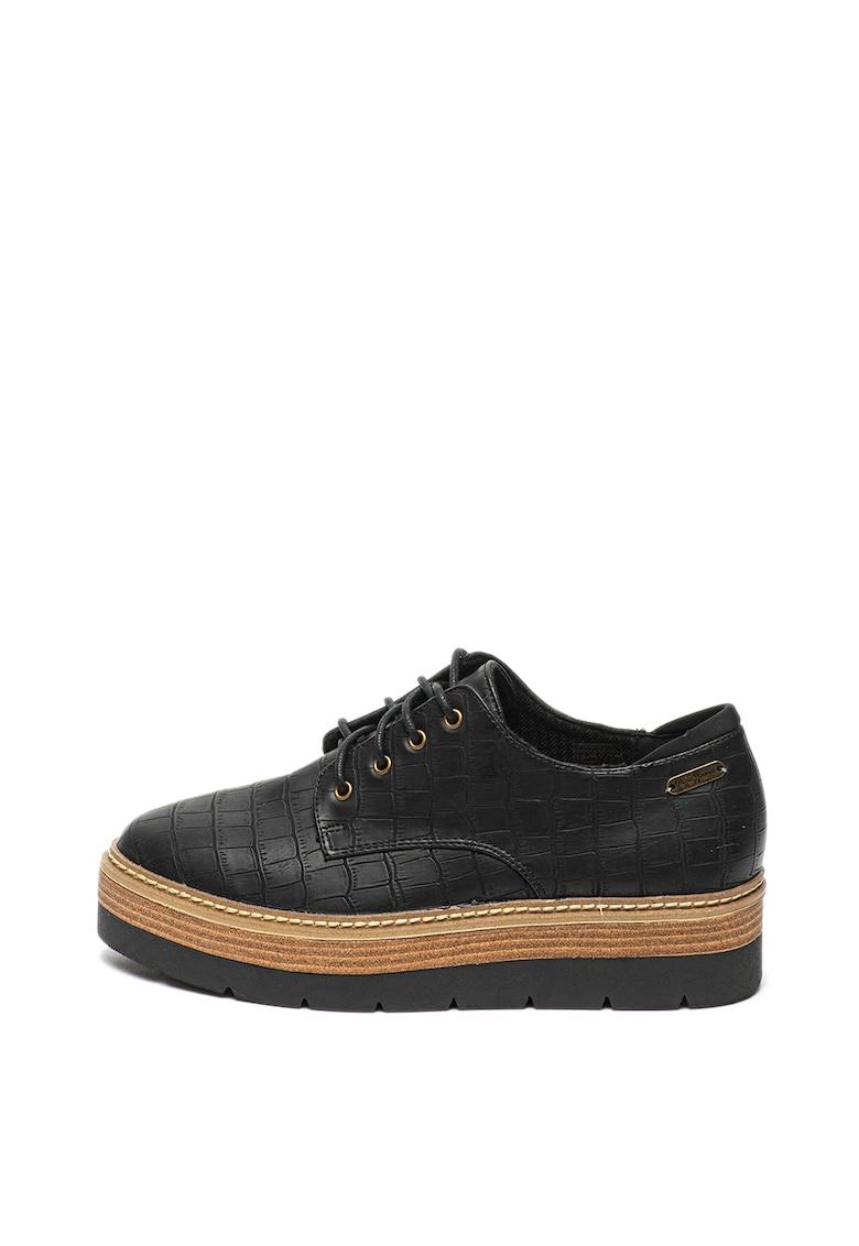 Pepe Jeans London Pantofi de piele ecologica cu model de piele de reptila Luton