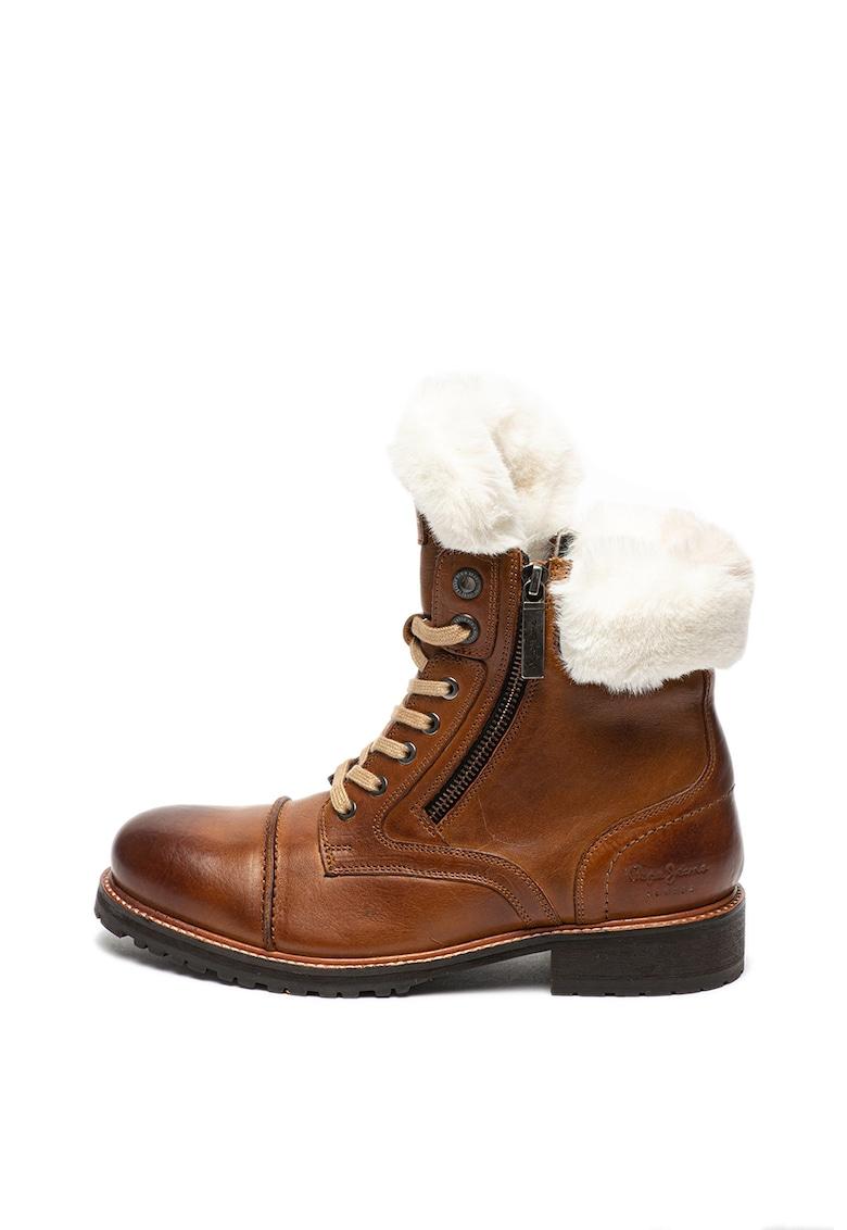 Pepe Jeans London Ghete de piele cu garnituri de blana sintetica Melting Russ