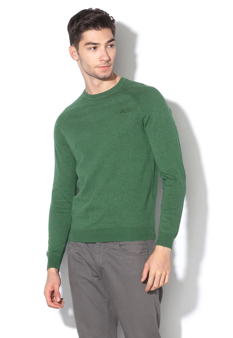 Pulover tricotat fin cu broderie logo