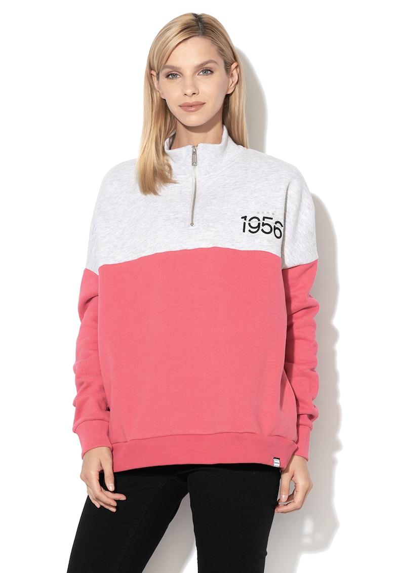 Bluza sport cu fermoar scurt si model colorblock Ana