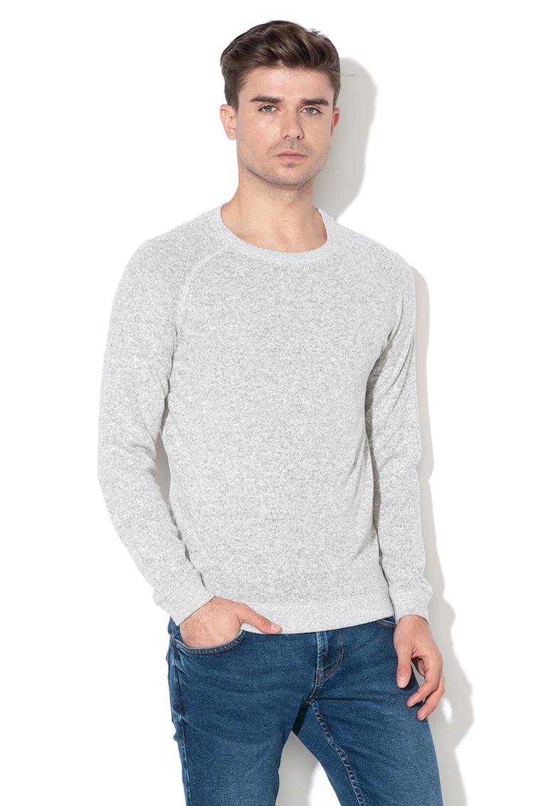 Pulover din tricot fin cu decolteu la baza gatului