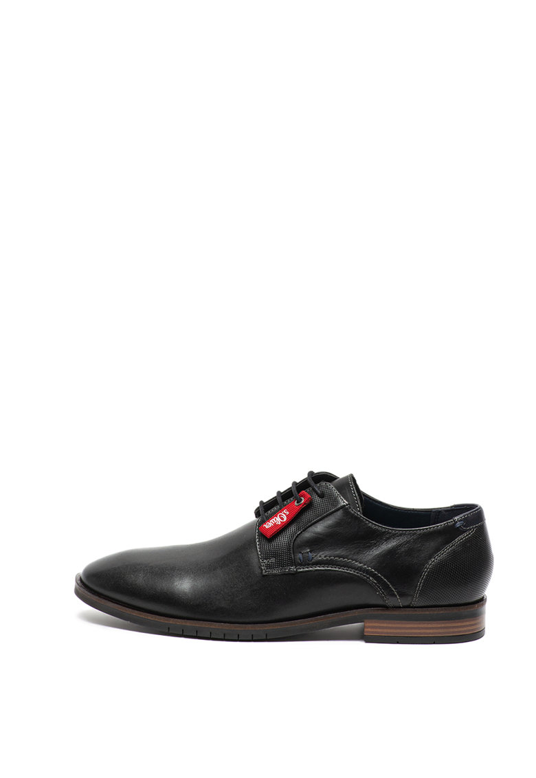Pantofi derby de piele - cu garnituri texturate
