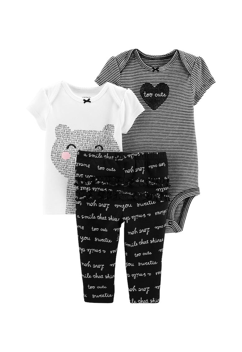 Set de body cu imprimeu - tricou si pantaloni- 3 piese