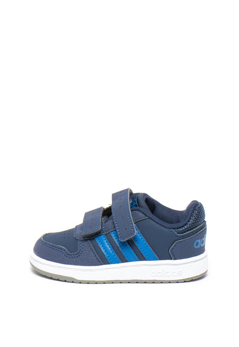 Pantofi sport de piele ecologica cu velcro Hoops Adidas PERFORMANCE