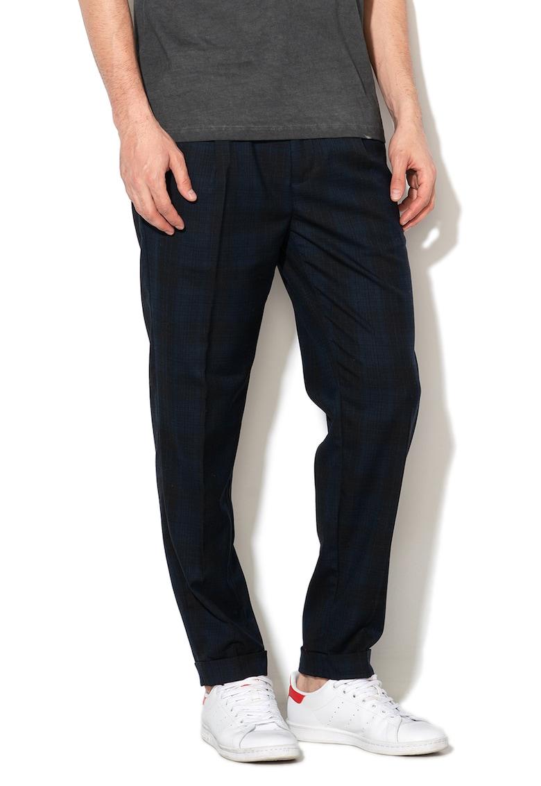 Pantaloni conici din amestec de lana - in carouri