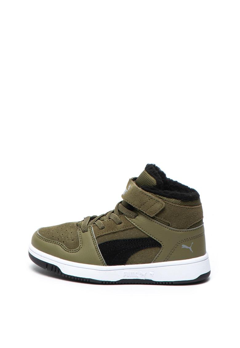 Pantofi sport mid-high cu insertii de piele Rebound