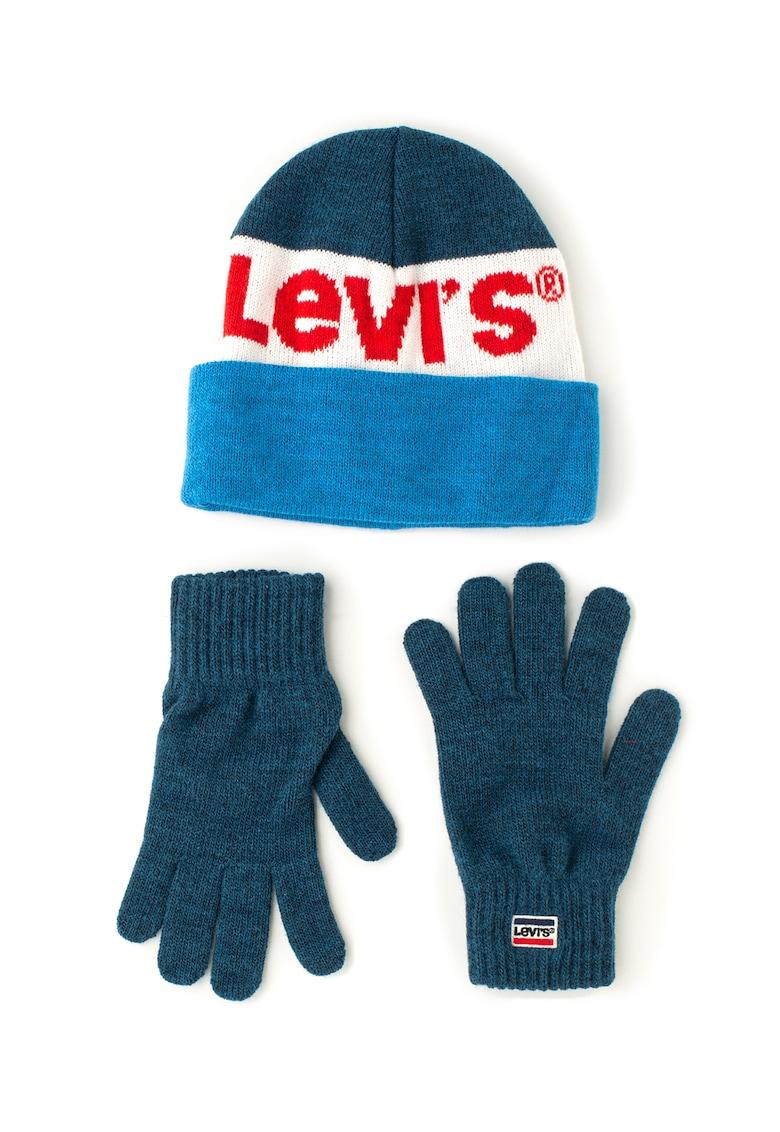 Set de caciula si manusi din tricot – cu logo Levis