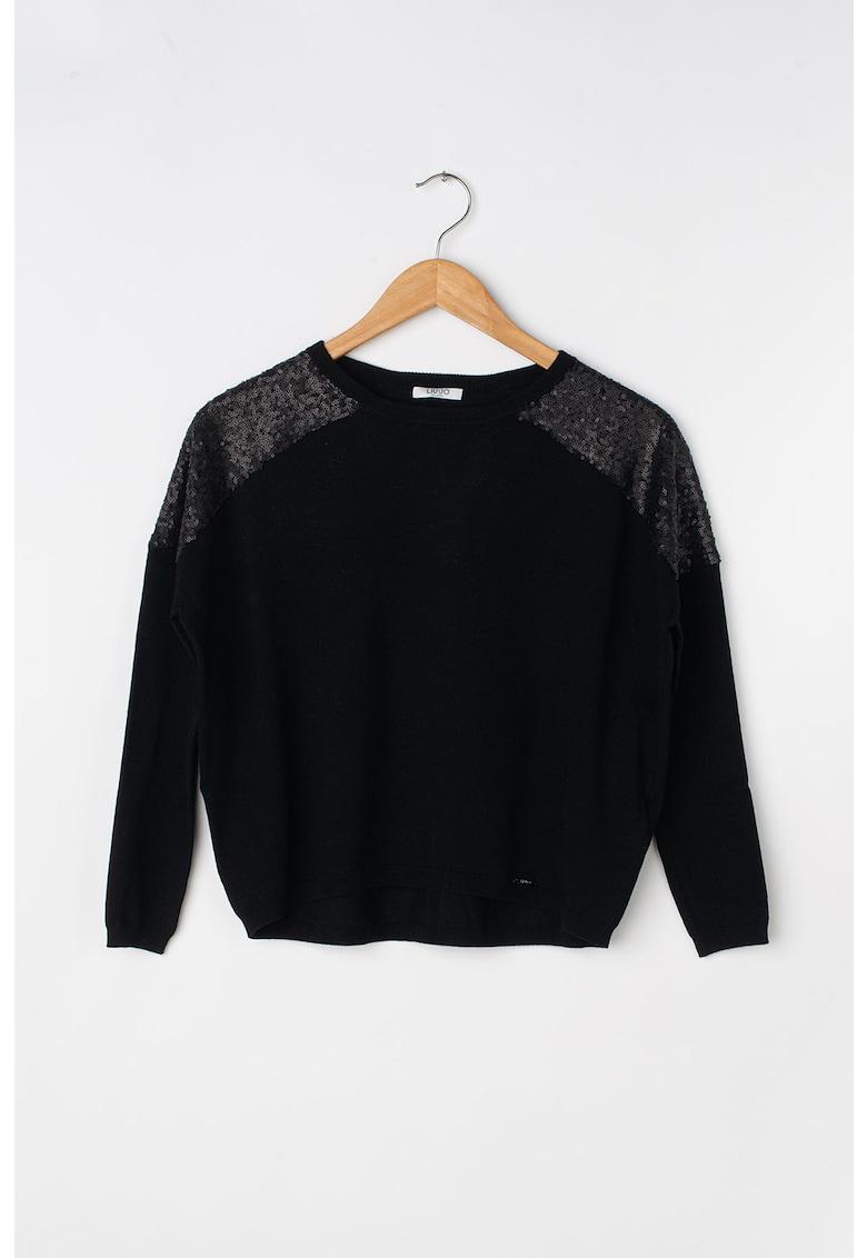 Pulover din tricot fin cu paiete pe umeri poza fashiondays