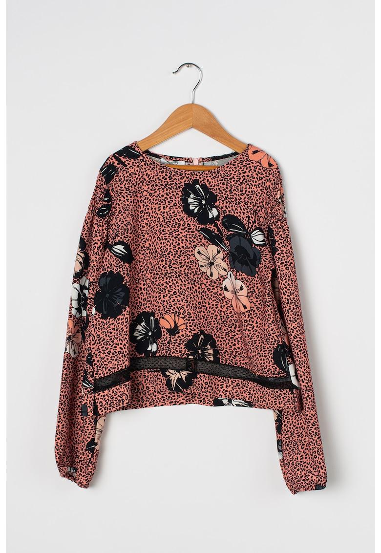 Bluza lejera cu imprimeu si insertie de plasa Poly
