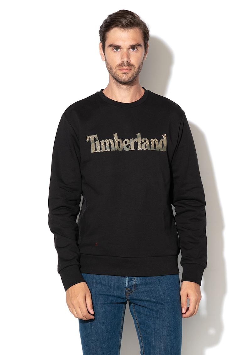 Bluza sport cu imprimeu logo si decolteu la baza gatului Timberland