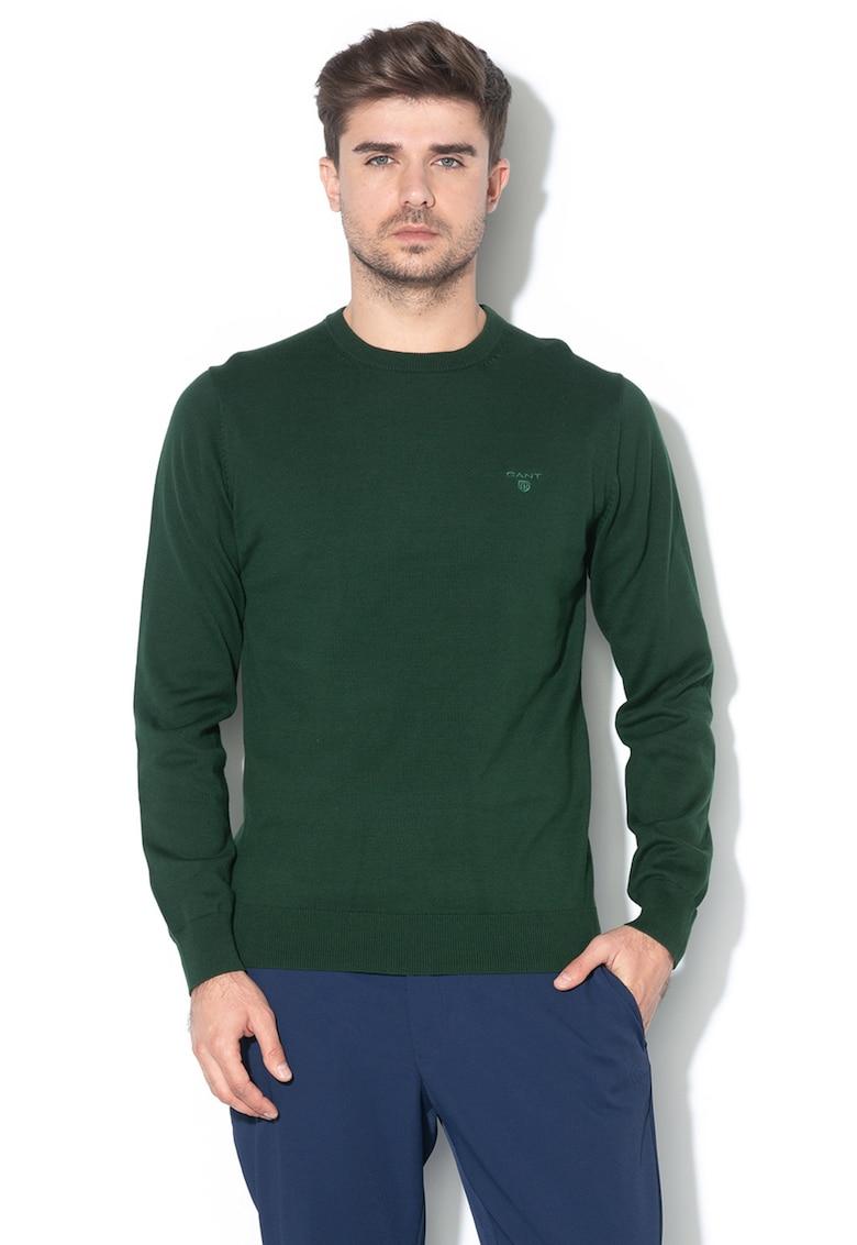 Pulover din tricot fin cu detaliu logo brodat