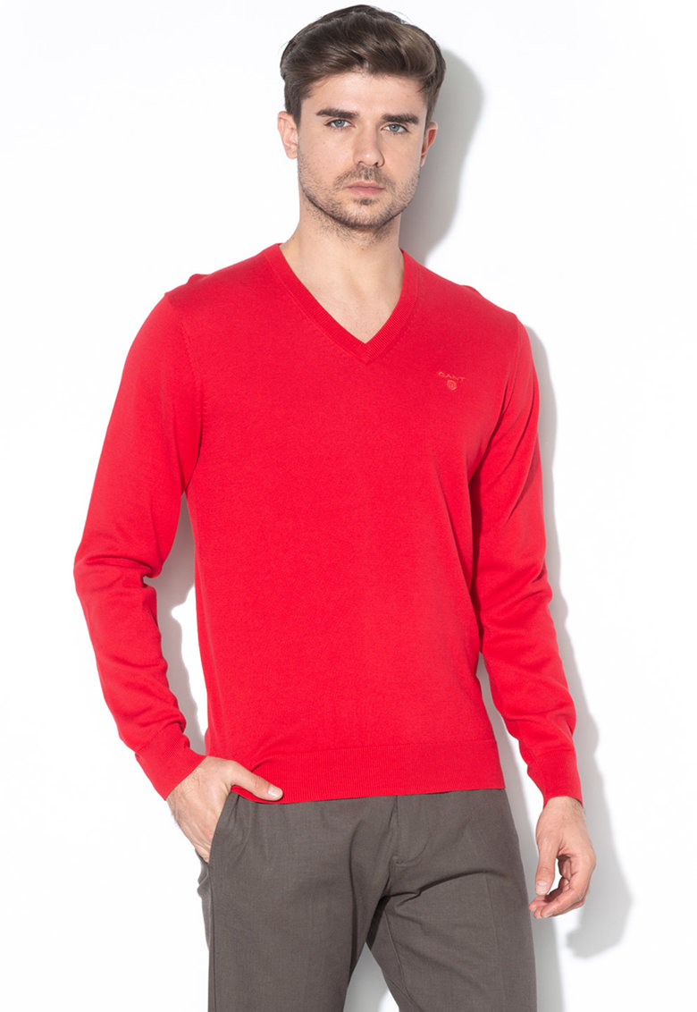 Pulover din tricot fin cu decolteu in V Gant