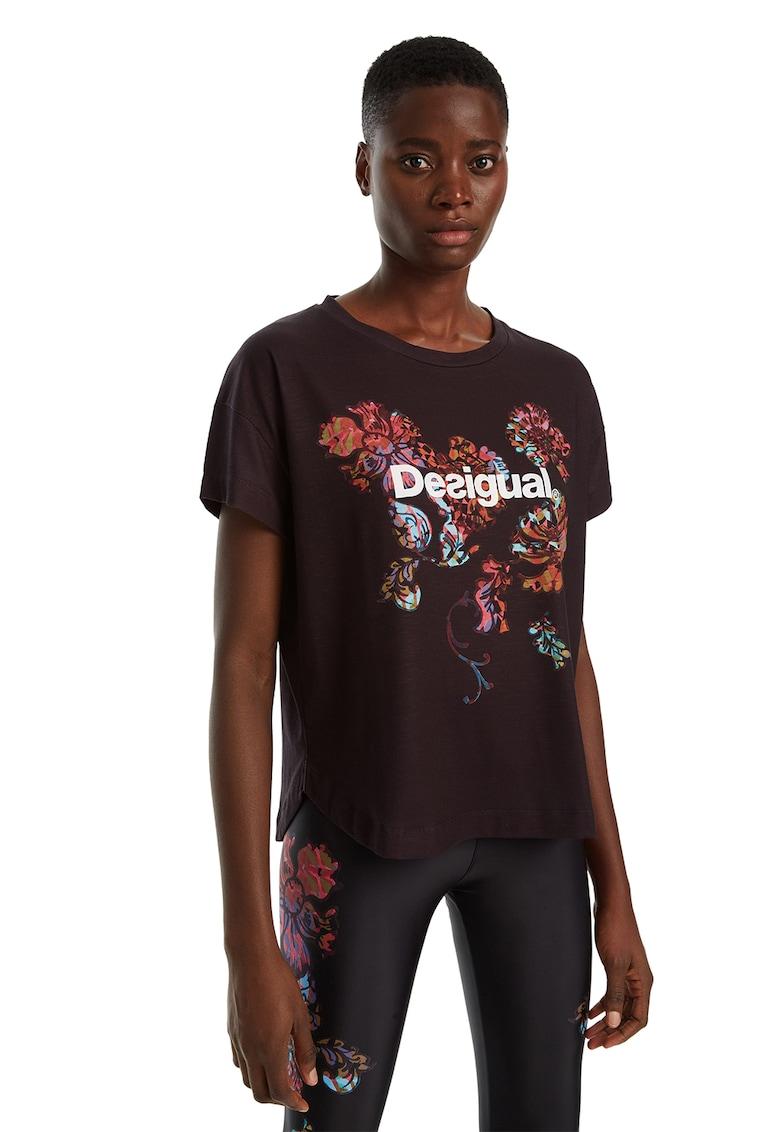 Tricou cu imprimeu floral si logo