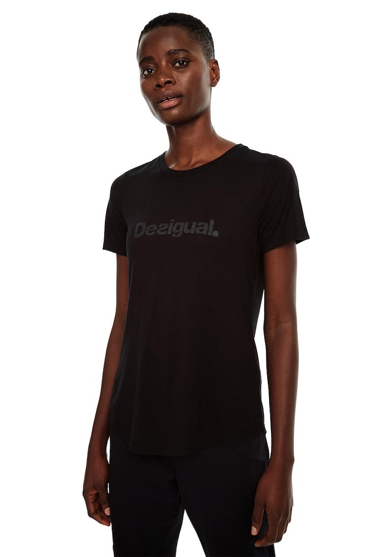 Tricou din amestec de modal – cu logo frontal DESIGUAL