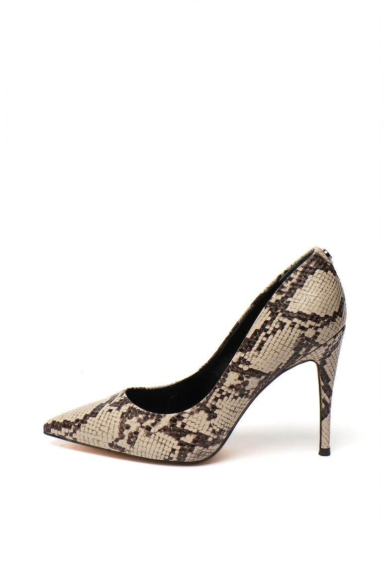 Pantofi stiletto cu aspect de piele de sarpe