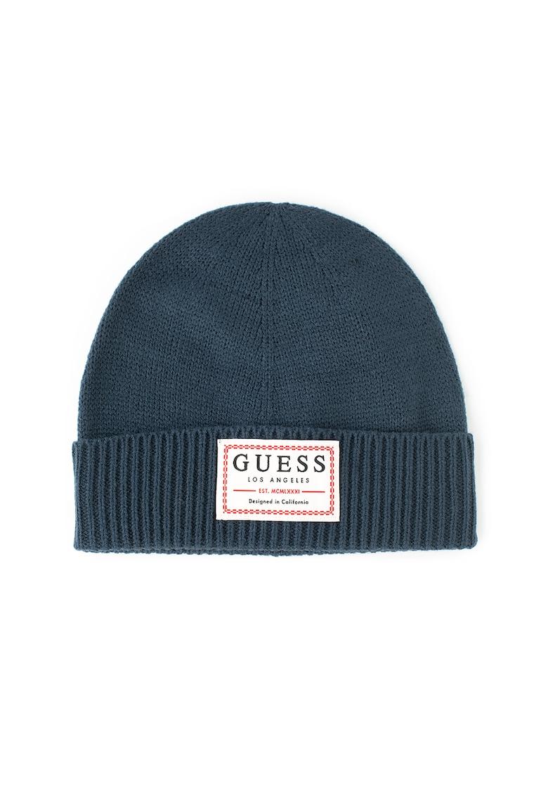 Caciula elastica din amestec de lana - cu aplicatie logo de la Guess