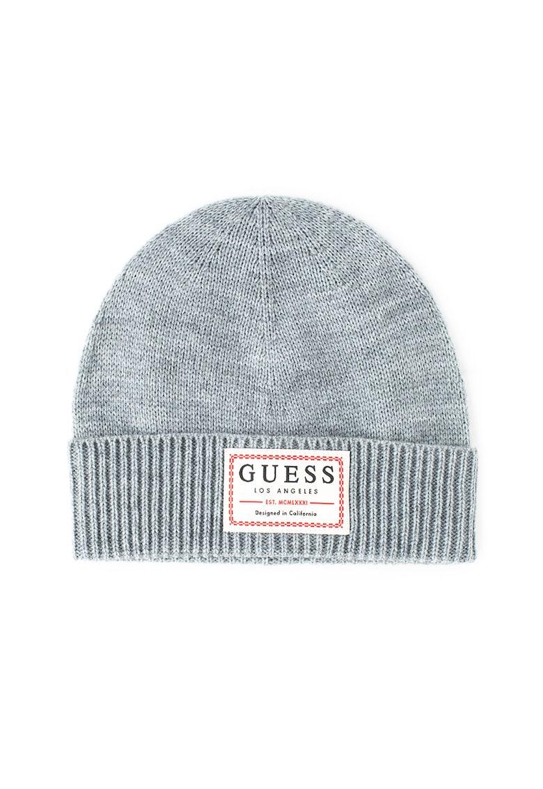 Caciula elastica din amestec de lana – cu aplicatie logo de la Guess