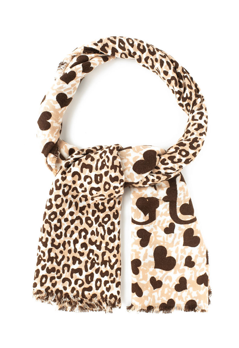 Fular cu model cu inimi si animal print de la Guess