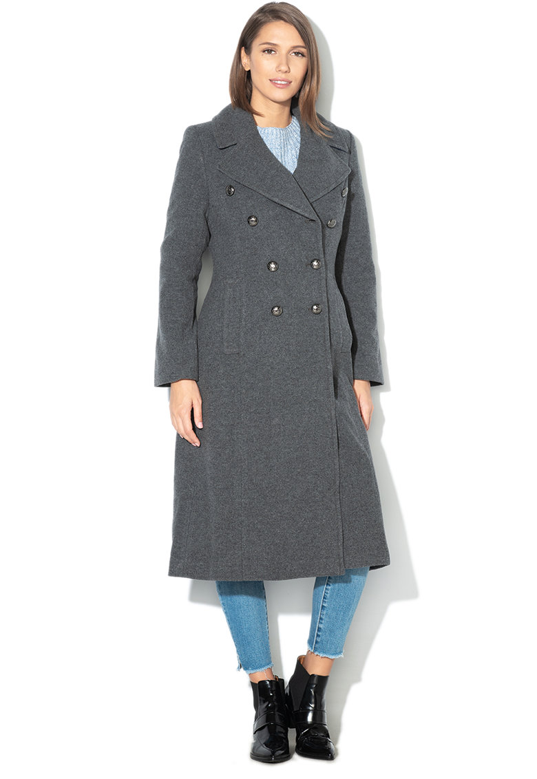 Palton din amestec de lana - cu doua randuri de nasturi