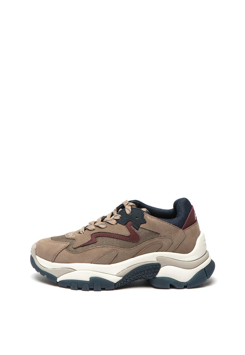 Pantofi sport de piele nabuc - cu insertii textile Addict